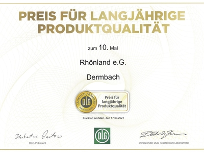 DLG-Preis für langjährige Produktqualität