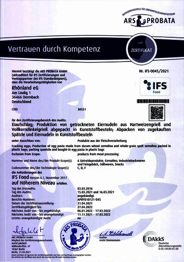 IFS Zertifikat - Eiaufschlag