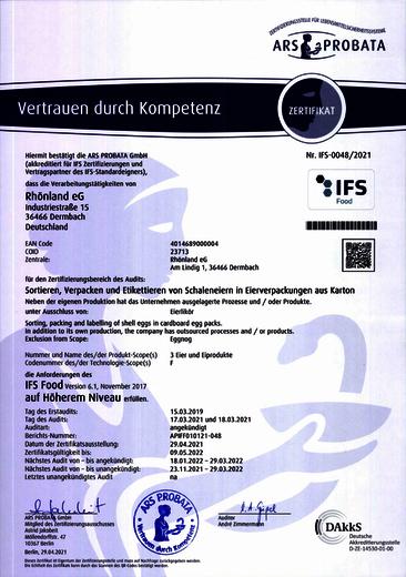 IFS Zertifikat - Eierpackstelle