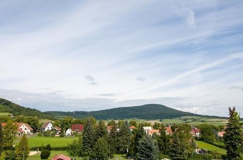 Blick vom Bungalow über die Rhön